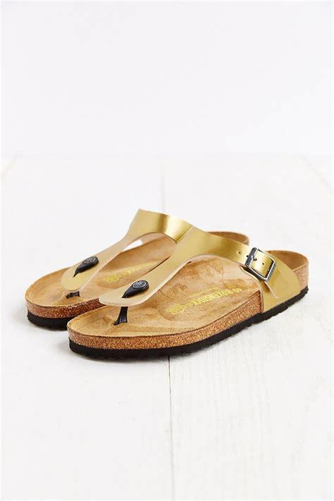 gizeh sandal birkenstock gizeh sandal in gold lyst