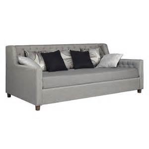 ameriwood jordyn upholstered grey linen daybed