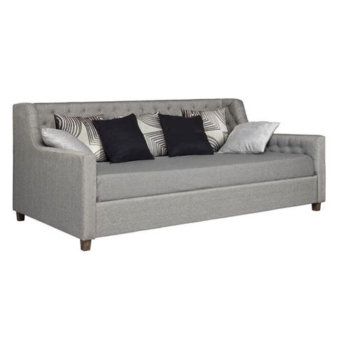 upholstered day bed ameriwood jordyn upholstered grey linen daybed