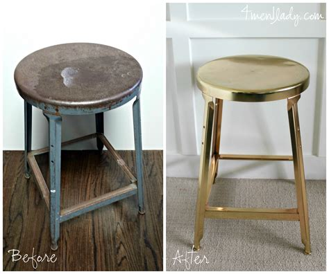 Painting Metal Bar Stools by Brass Plated Stool