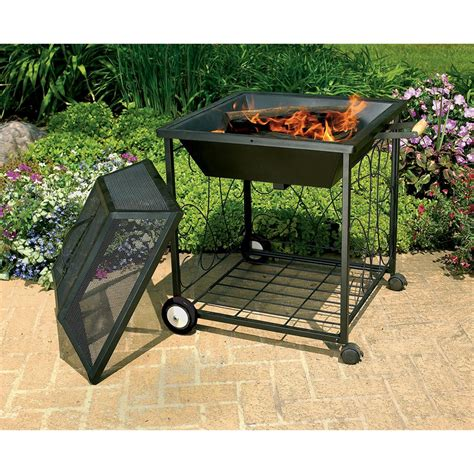 backyard portable fire pit cobraco 174 square portable fire pit with wheels 138670