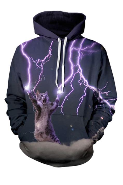 Hoodie 3d Fullprint 2 Import 1 womens lightning cat 3d printed pullover hoodie black
