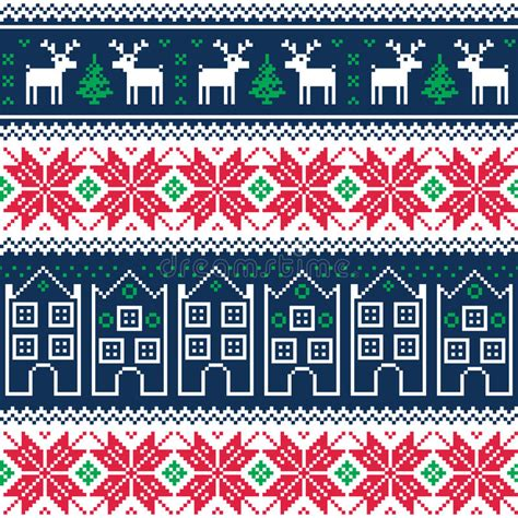 winter vintage pattern wallpaper vector seamless winter christmas seamless pattern with reindeer stock