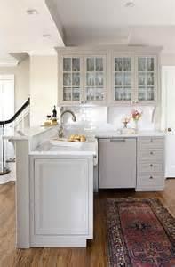 Gray kitchen peninsula transitional kitchen