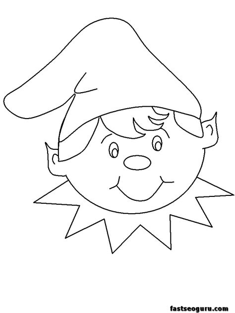 printable elf face template printable coloring pages of christmas elves happy faces