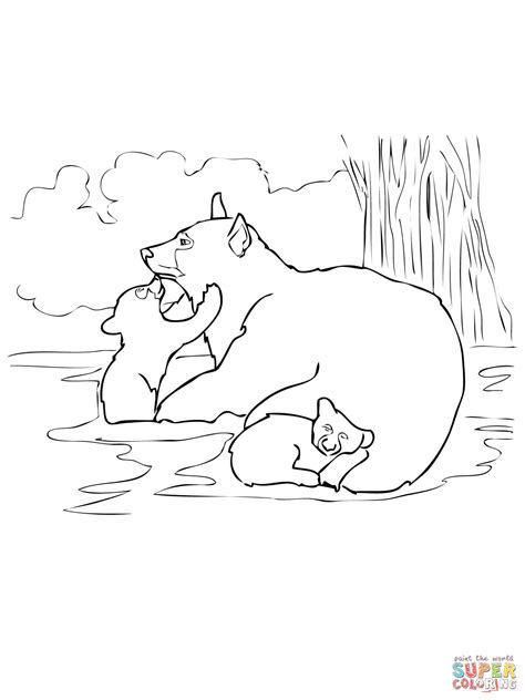 american black bear family coloring online super coloring