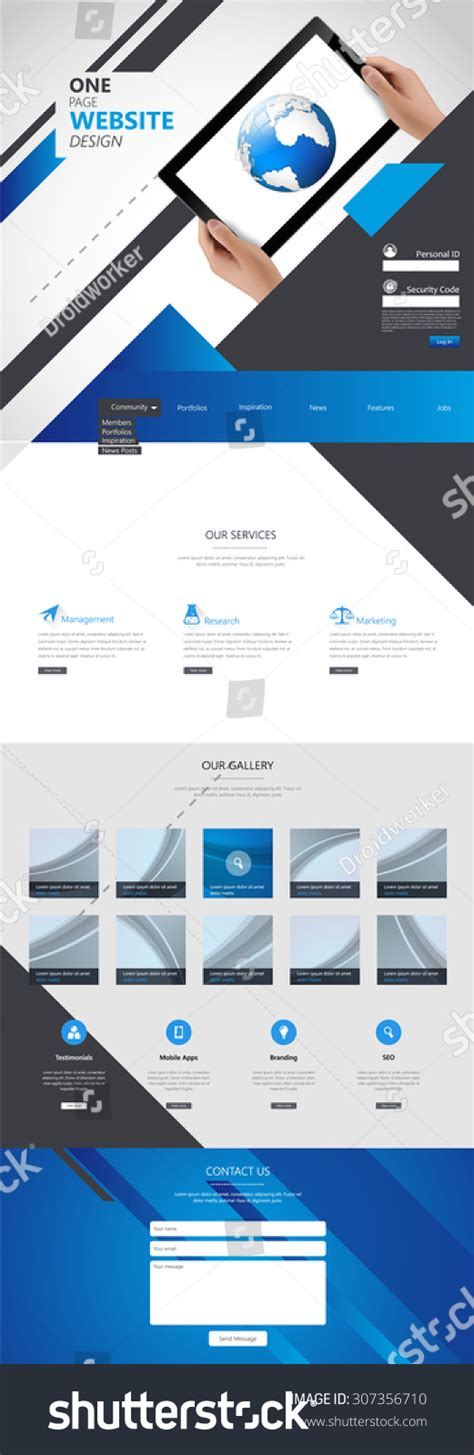 Business One Page Website Design Template Stock Vector 307356710 Shutterstock Single Page Business Website Template