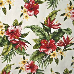 Hibiscus Flower Fabric - tropical floral print white