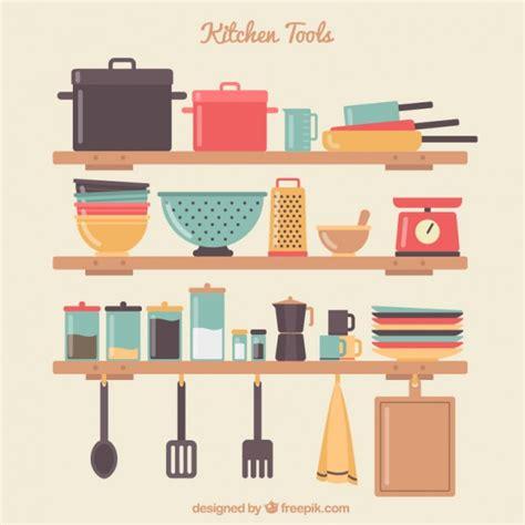 descargar de cocina herramientas de cocina en estantes descargar vectores gratis