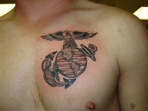 logo tattoo man black ink marine logo tattoo on man chest