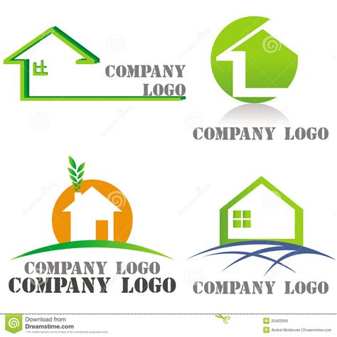 house architecture real estate green logos royalty free