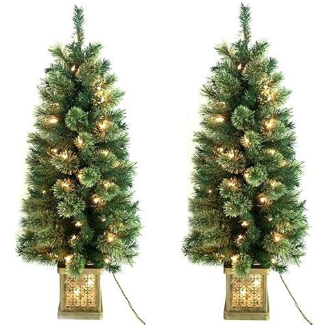 pre lit christmas topiary trees time pre lit 4 topiary trees in pots 2 pack clear lights trees