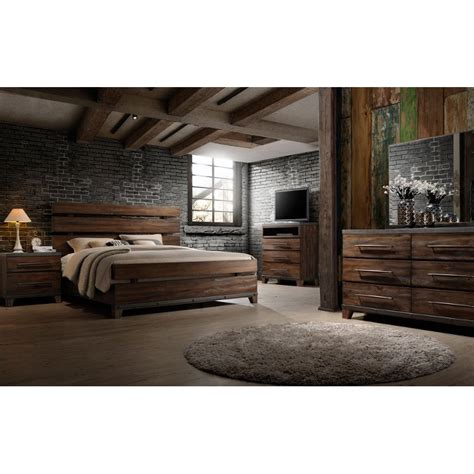 modern rustic brown  piece king bedroom set forge rc willey furniture store