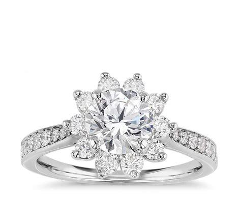 starburst floral halo engagement ring in 14k white