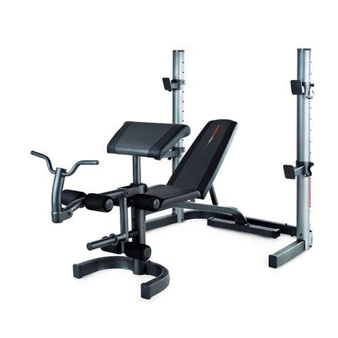 bench and weights weider 490 olympic bench and 140kg cast iron barbell set