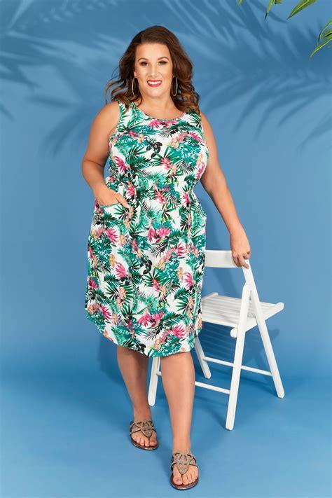 green multi tropical floral print pocket dress