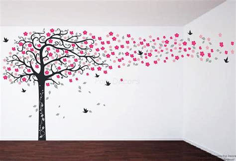 Design Wall Stickers floral tree wall decals flowers tree stickers girls decals