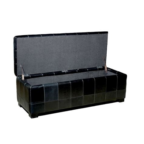 black ottoman with storage black leather storage bench ottoman with dimples