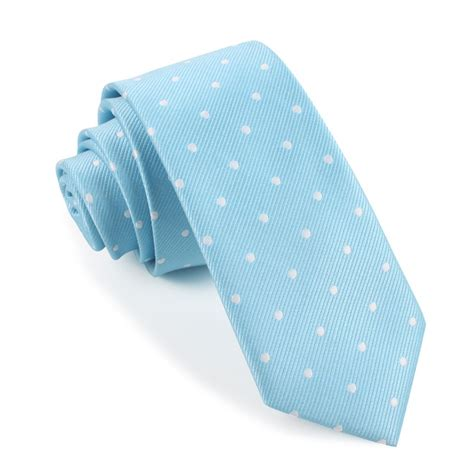 sky blue with white polka dots tie slim thin ties