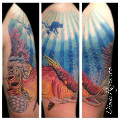 new tattoo under water kingdom studio tattoos custom color hogfish