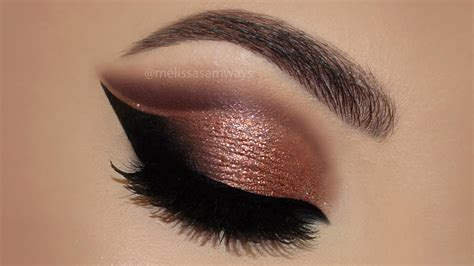 with eyeshadow copper cut crease glitter makeup tutorial
