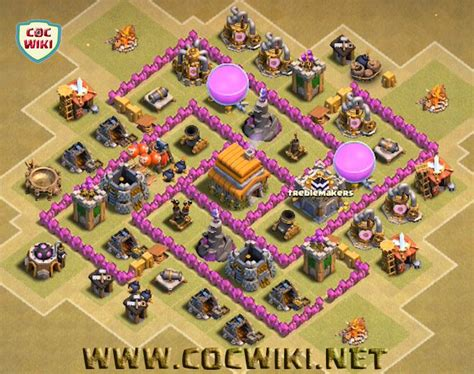layout coc war base th6 best coc th6 war base design