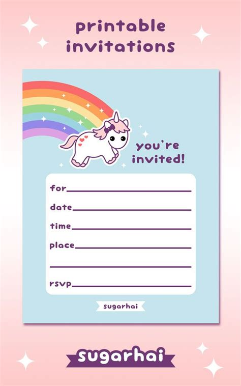 printable birthday party invitations uk 17 best images about rainbow unicorn party on pinterest
