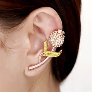 ear cuff jewelry tulip ear cuff earrings rhinestone flower cuff earrings gold