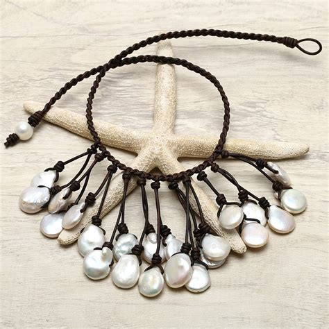 Handmade Leather Necklace - handmade leather necklace with 14 15 mm white coin pearl