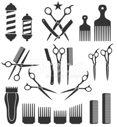 barber tattoo logo barber tools for haircut black and white vector icon set
