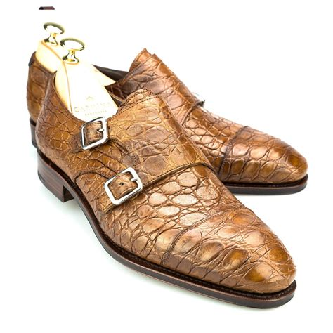 crocodile shoes monk shoes in golden camel crocodile carmina