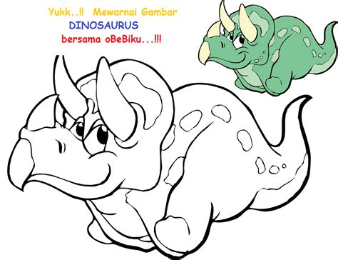 belajar mewarnai gambar dinosaurus obebiku