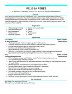 Sample Resume Objectives For Nanny by Nanny Resume Objective Berathen Com