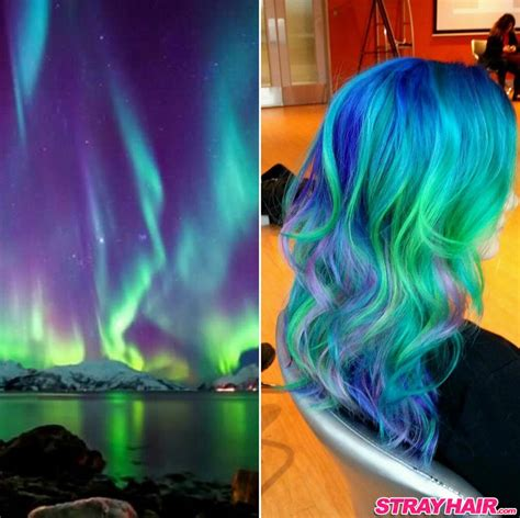 purple green and blue lights amazing borealis hair color strayhair