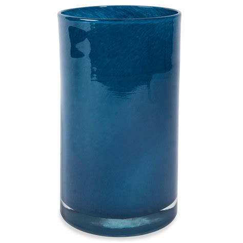vase cylindrique en verre bleu nuit h 20 cm maisons du monde