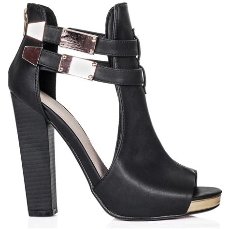 buy bordeaux heeled cut out peep toe shoes black leather