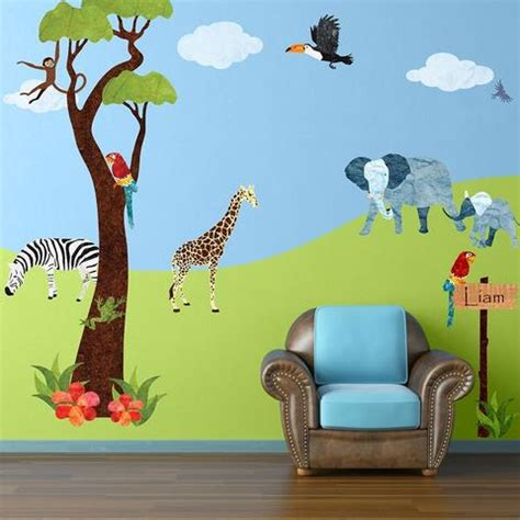 childrens wall mural stickers jungle theme wall mural stencils stickers decals