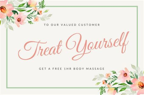 floral gift certificate template pink watercolor floral massage gift certificate