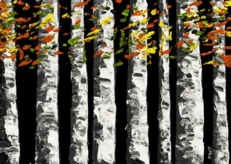 black background painting white birch trees in fall on black background painting