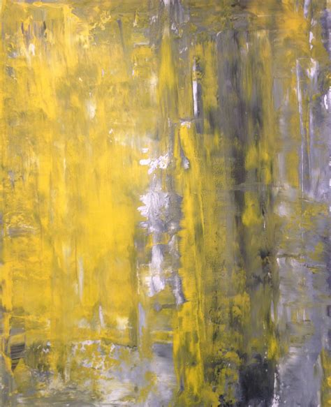 grey yellow acrylic abstract art painting grey yellow and white modern