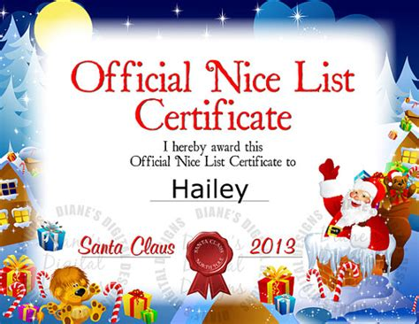 santa claus certificate template 7 best images of blank list certificate printable