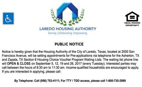 texas housing authority open waiting list lha to open asherton and zapata section 8 waiting lists laredo housing authority