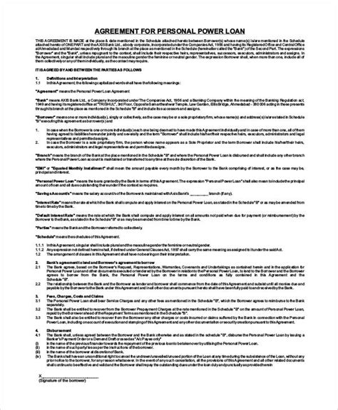 personal loan agreement form sle agreement form 36 exles in word pdf