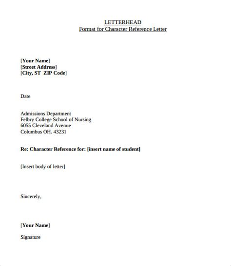 Recommendation Letter Header Sle Character Letter Of Recommendation 10 Documents In Pdf Word