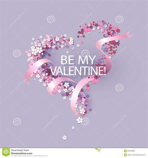 pink valentines day valentines day card with pink flowers shaped stock