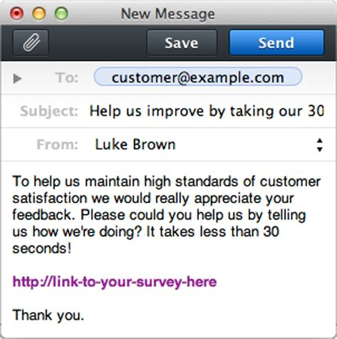 customer survey email template ways to send surveys