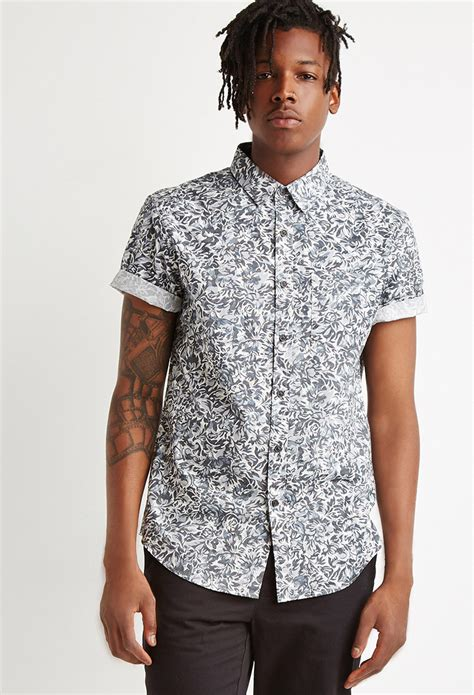 pattern shirts forever 21 floral pattern shirt in gray for men lyst
