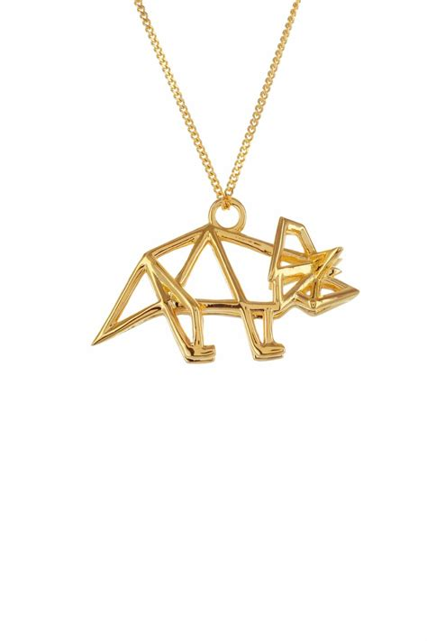 Origami Pendants - origami jewelry necklace frame triceratops from by