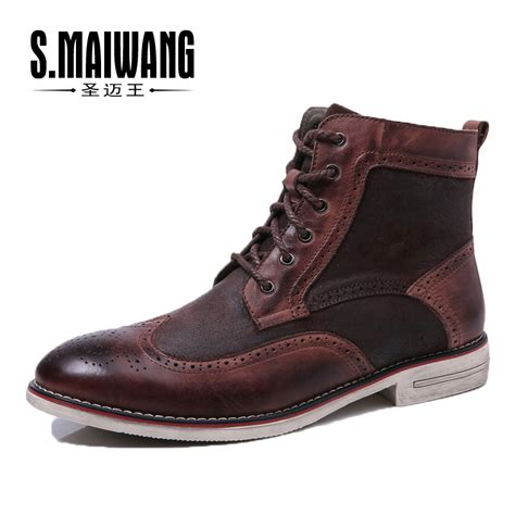 mens high top oxford shoes autumn winter genuine leather mens fashion martin boots