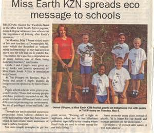 The south coast sun newspaper article 2 miss earth south africa